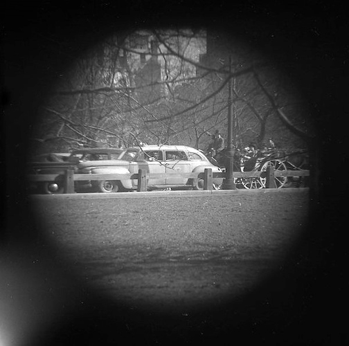 In Central Park, Car & Horse Hack (telescope view)