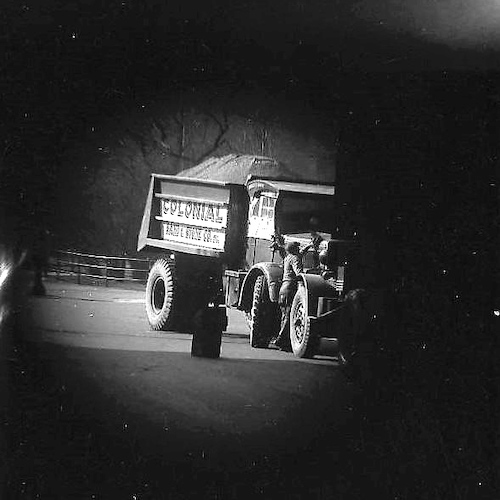 Gravel Truck, photographed from within a Bus (telescope view)
