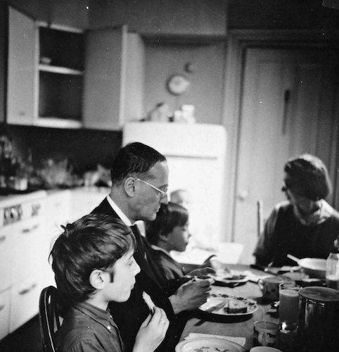 Breakfast at Arlington Street, Uncle Laurence visiting (Lucas, Laurence, Conrad, Charles, Pat Feininger)