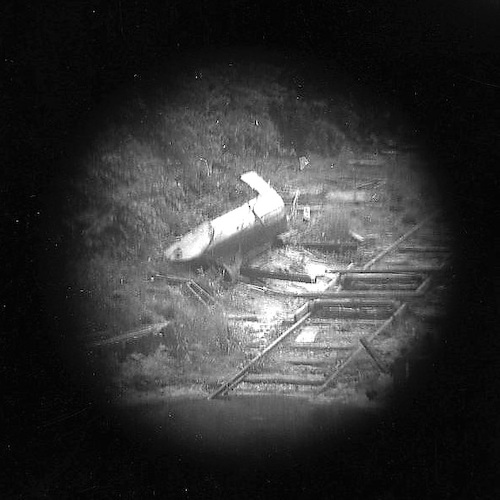 Wreckage near the Train Tracks (telescope view)