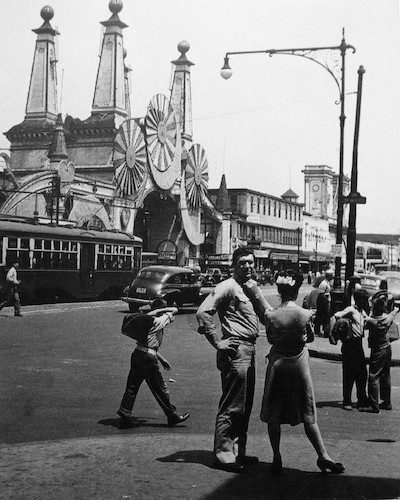 Coney Island Amusement Palace, with marine sgt., girl and shoeshine kids