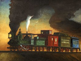 Early Amer. Engine hauling train of the 60ties